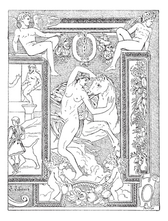 Primaticcio, Decoration of Francis I Gallery Palace of Fontainebleau, vintage engraved illustration. Dictionary of words and things - Larive and Fleury - 1895. Ilustrace