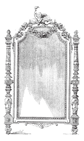 french style: Ornate Louis XVI French style mirror, vintage engraved illustration. Dictionary of words and things - Larive and Fleury - 1895.