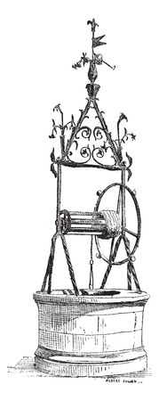 forge: Well Renaissance, Iron Forge, in Toulouse, France, vintage engraved illustration. Dictionary of words and things - Larive and Fleury - 1895. Illustration