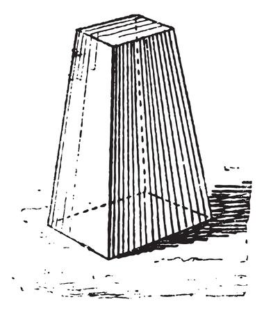 converge: Truncated pyramid, vintage engraved illustration. Dictionary of words and things - Larive and Fleury - 1895.