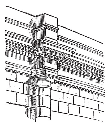 pilaster: Pilaster, a projecting column, vintage engraved illustration. Dictionary of words and things - Larive and Fleury - 1895. Illustration