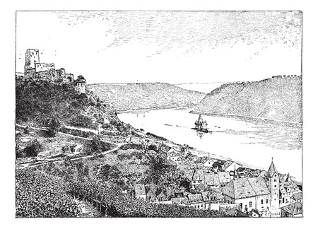 burg: Burg Gutenfels, Rhin river, Germany, vintage engraved illustration. Dictionary of words and things - Larive and Fleury - 1895.