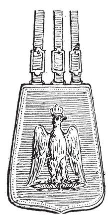 cavalryman: Sabretache, cosecha ilustraci�n grabada. Diccionario de palabras y las cosas - Larive y Fleury - 1895.