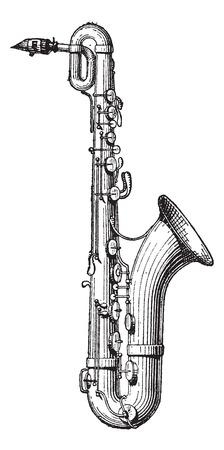 instrumentos musicales: Ilustraci�n del Antiguo grabado Saxof�n aislado en un fondo blanco. Diccionario de palabras y las cosas - Larive y Fleury? 1895