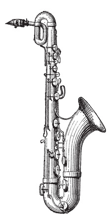 orchestral: Old engraved illustration of Saxophone isolated on a white background. Dictionary of words and things - Larive and Fleury ? 1895