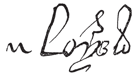Signature of Louis XI, King of France (1423-1483), vintage engraved illustration. Dictionary of words and things - Larive and Fleury - 1895. Vector