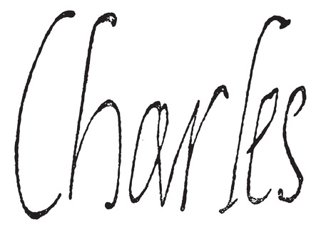 duke: Signature of Charles IX, King of France (1550-1574), vintage engraved illustration. Dictionary of words and things - Larive and Fleury - 1895. Illustration