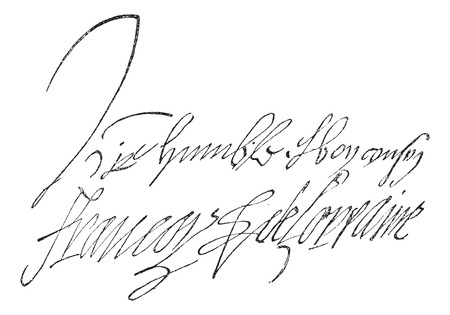comandante: Firma di Francois de Lorraine, Duca di Guisa (1519-1562), vintage illustrazione inciso. Dizionario di parole e cose - Larive e Fleury - 1895.