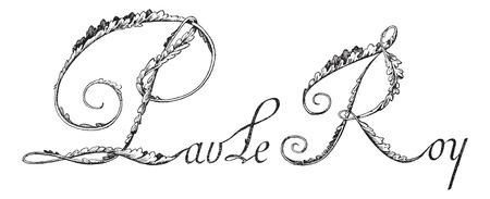superintendent: Firma de Jean-Baptiste Colbert, Ministro y Secretario de Estado de Francia (1619-1683), a�ada una ilustraci�n grabada. Diccionario de palabras y las cosas - Larive y Fleury - 1895.