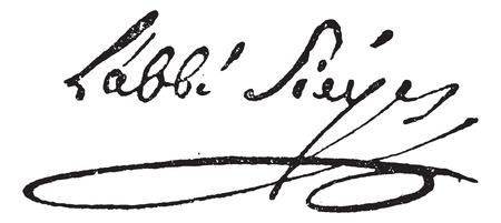 에마뉘엘 요셉 Sieyes 또는 아베 Sieyes (1748-1836), 빈티지 새겨진 된 그림의 서명. 단어와 사물의 사전 - Larive and Fleury - 1895.