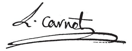 margriet: Handtekening van Lazare Nicolas Marguerite of Comte Carnot (1753-1823), vintage gegraveerde illustratie. Woordenboek van woorden en dingen - Larive en Fleury - 1895.