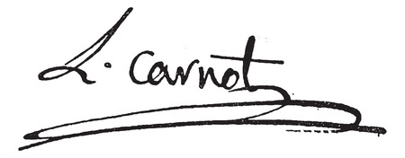 Signature of Lazare Nicolas Marguerite or Comte Carnot (1753-1823), vintage engraved illustration. Dictionary of words and things - Larive and Fleury - 1895. Ilustração