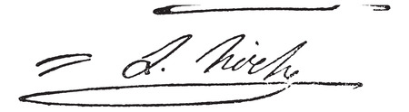 Signature of Louis Lazare Hoche  (1768-1797), vintage engraved illustration. Dictionary of words and things - Larive and Fleury - 1895. Illustration
