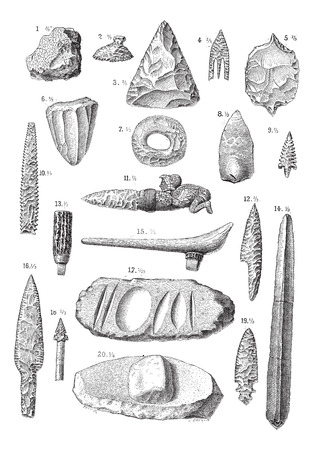 flint: Flint, vintage engraved illustration. Dictionary of words and things - Larive and Fleury - 1895.