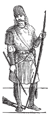 slavonic: Old engraved illustration of Slavic person standing. Dictionary of words and things - Larive and Fleury - 1895