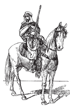 Spahi with weapon on horse, vintage engraved illustration. Dictionary of words and things - Larive and Fleury - 1895. 向量圖像