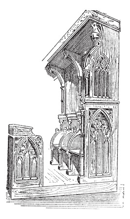 Church stalls at Anellau, France, vintage engraved illustration. Dictionary of words and things - Larive and Fleury - 1895. Illustration