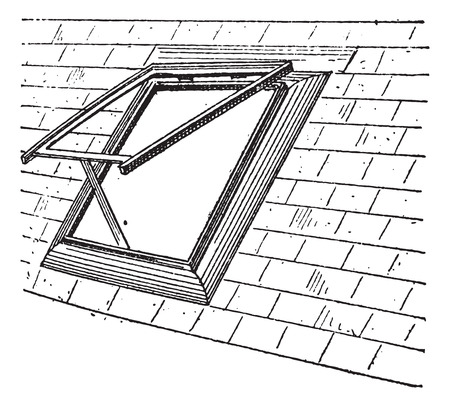 skylight: Old engraved illustration of Skylight on the window. Dictionary of words and things - Larive and Fleury