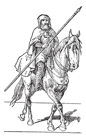 templar: Templar on horse, vintage engraved illustration. Dictionary of words and things - Larive and Fleury - 1895. Illustration