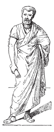 tunic: Toga, vintage engraved illustration. Man wearing Toga. Dictionary of words and things - Larive and Fleury - 1895.