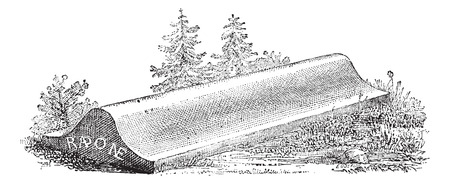 Tombstone, lid of a sarcophagus from Carlovingian era cemetery, vintage engraved illustration. Dictionary of words and things - Larive and Fleury - 1895.