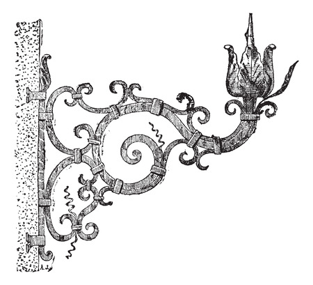 wrought iron: Italian torchere, vintage engraved illustration. Dictionary of words and things - Larive and Fleury - 1895.
