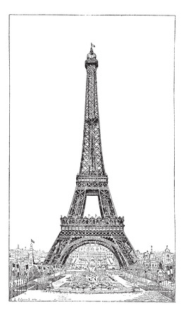 tower: Eiffel Tower, brought up by the engineer Gustave Eiffel, vintage engraved illustration. Dictionary of words and things - Larive and Fleury - 1895.