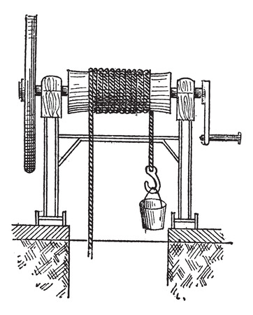 windlass: Winch, vintage engraved illustration. Dictionary of words and things - Larive and Fleury - 1895.