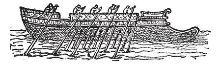 Trireme, vintage engraved illustration. Dictionary of words and things - Larive and Fleury - 1895.