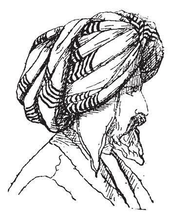 afghane: Afghan Turban, Jahrgang gravierte Darstellung. W�rterbuch der W�rter und Dinge - Larive und Fleury - 1895