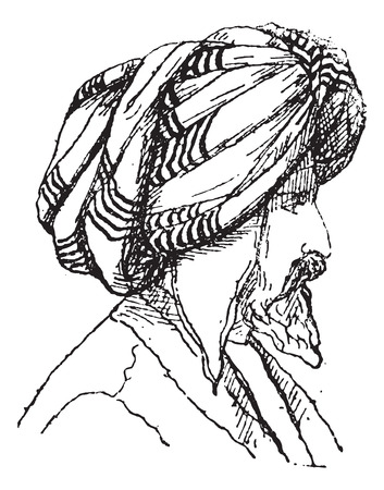 afghan: Afghan Turban, vintage engraved illustration. Dictionary of Words and Things - Larive and Fleury - 1895