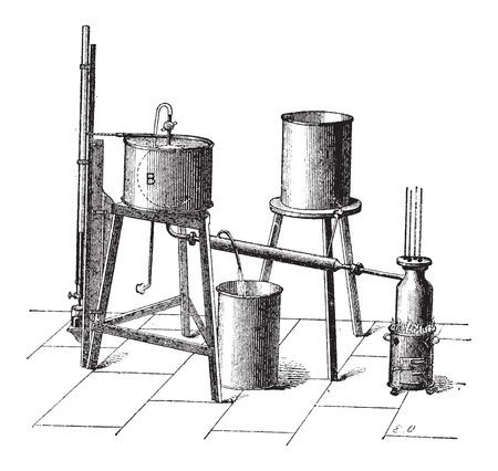elasticidad: Arreglo experimental para medir la fuerza el�stica m�xima de vapor, a�ada una ilustraci�n grabada. Diccionario de palabras y las cosas - Larive y Fleury - 1895