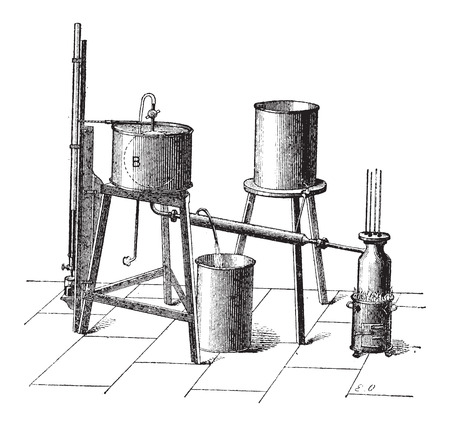 apparatus: Experimental Setup to Measure the Maximum Elastic Force of Steam, vintage engraved illustration. Dictionary of Words and Things - Larive and Fleury - 1895