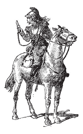 patrolling: Vedette, mounted on a horse, vintage engraved illustration. Dictionary of Words and Things - Larive and Fleury - 1895