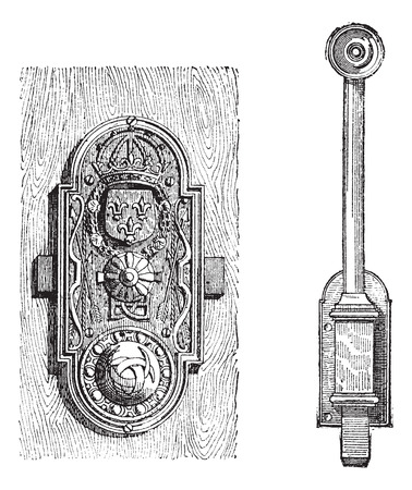 cylinder lock: Lock, Two Types, vintage engraved illustration. Dictionary of Words and Things - Larive and Fleury - 1895 Illustration