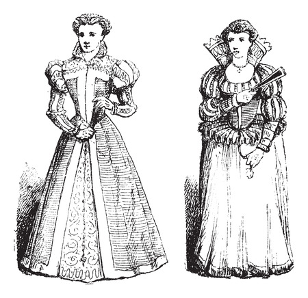 widening: Farthingale, during the time of Francis I (left) and a Drum Farthingale during the time of Henry IV (right), vintage engraved illustration. Dictionary of Words and Things - Larive and Fleury - 1895