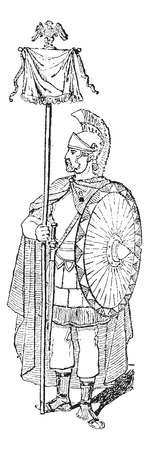 crossbar: Vexillum, shown is a Roman Soldier holding a Vexillum with an Eagle Symbol, vintage engraved illustration. Dictionary of Words and Things - Larive and Fleury - 1895