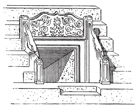 unesco: Vomitory of the Coliseum or Coloseum, vintage engraved illustration. Dictionary of words and things - Larive and Fleury - 1895.