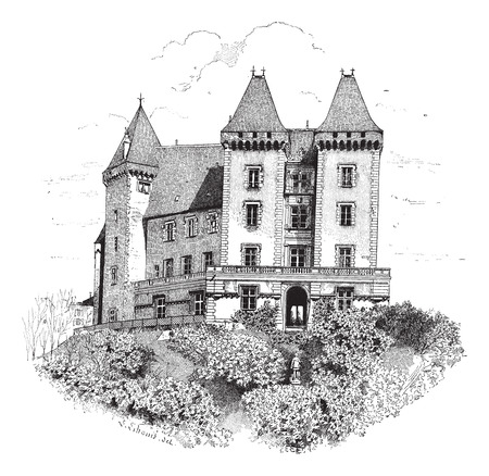 architectural heritage: Old engraved illustration of Chateau de Pau or Pau Castle. Dictionary of words and things - Larive and Fleury ? 1895 Illustration