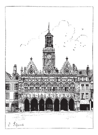 Old engraved illustration of the town hall of Saint-Quentin in France. Dictionary of words and things - Larive and Fleury ? 1895 Illustration