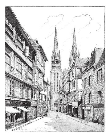오래 프랑스 캉 페르 성당 새겨진 된 그림. Larive 및 플러 - 단어와 사물의 사전? 1895