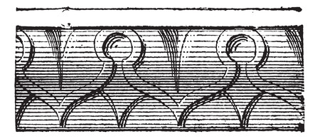 Sculpted rays of heart or heart design on ornemental moldings, vintage engraved illustration. Dictionary of words and things - Larive and Fleury - 1895.