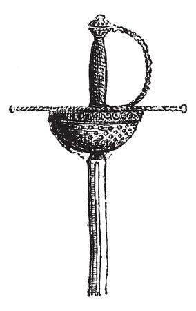 レイピアは白、ヴィンテージの刻まれた図に分離されました。辞書の単語との事 - Larive、フルーリ - 1895年。