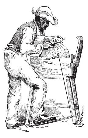 molinillo: Grinder, cosecha ilustración grabada. Diccionario de palabras y las cosas - Larive y Fleury - 1895. Vectores