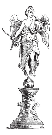 Statue of Fame in the centre of the fountain, Palace of Versailles, vintage engraved illustration. Dictionary of words and things - Larive and Fleury - 1895.