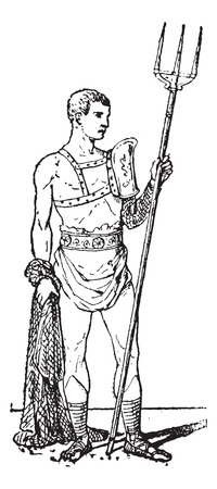 trident: Retiarius, vintage engraved illustration. Retiarius, a Roman gladiator. Dictionary of words and things - Larive and Fleury - 1895.