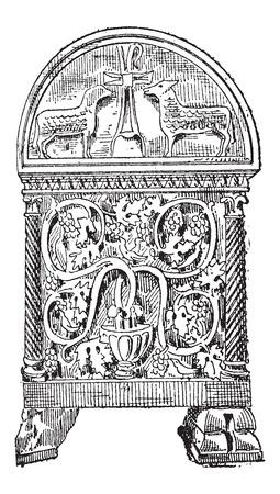 白い背景で隔離されたイタリア、ラヴェンナの石棺のビザンチン様式の古い刻まれたイラストです。辞書の単語との事 - Larive、フルーリですか?1895  イラスト・ベクター素材