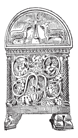 byzantine: Old engraved illustration of Sarcophagus of Byzantine style in Ravenna, Italy, isolated on a white background. Dictionary of words and things - Larive and Fleury ? 1895