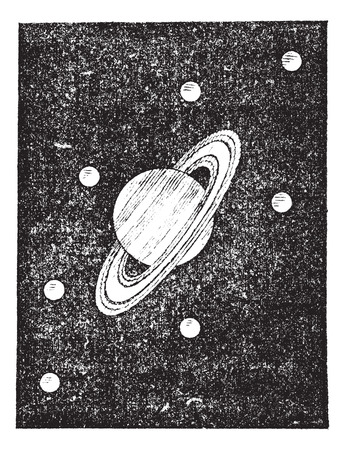 Old engraved illustration of Saturn and its satellites. Dictionary of words and things - Larive and Fleury ? 1895