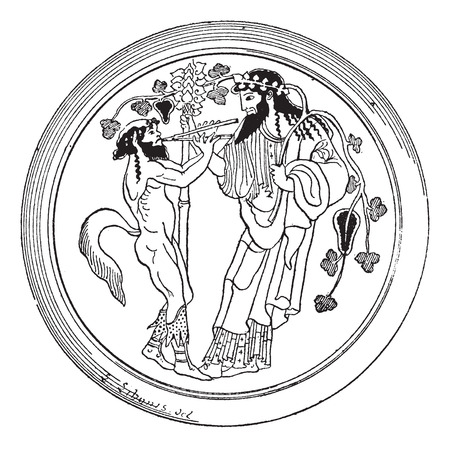 Old engraved illustration of Satyr and Dionysus painted on the bottom of a cup (Berlin Museum) isolated on a white background. Dictionary of words and things - Larive and Fleury ? 1895 Ilustração
